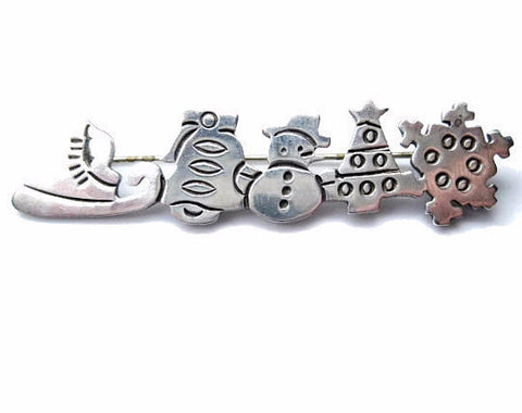 Christmas Holiday Brooch Pin 925 Sterling Silver - Bejeweled Emporium - 1