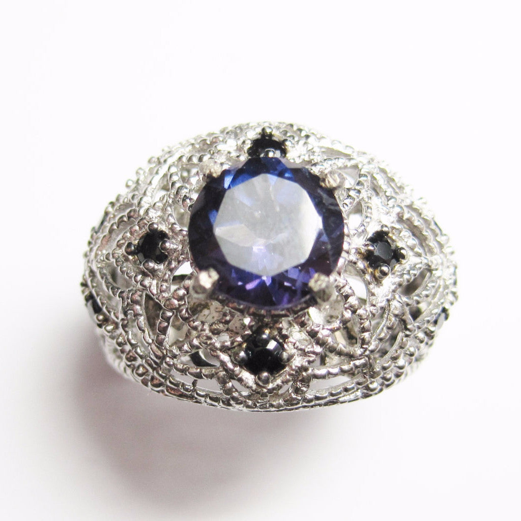 Purple Spinel Ring with Black Diamonds Sterling Size 6 - Bejeweled Emporium - 1