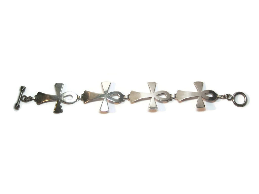 Mexican Sterling Ankh Toggle Bracelet - Bejeweled Emporium - 1