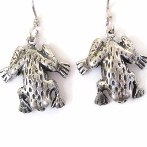 Figural Sterling Dangle Frog Earrings - Bejeweled Emporium - 1