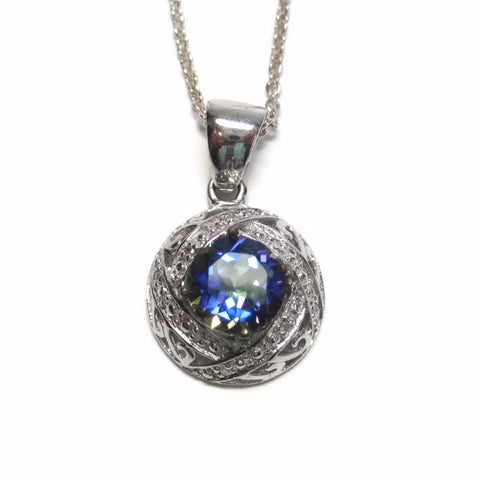 Blue Mystic Topaz Pendant Necklace Handset Sterling and Diamond - Bejeweled Emporium - 1