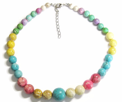 Chunky Colorful Dyed Howlite Graduated Bead Necklace
