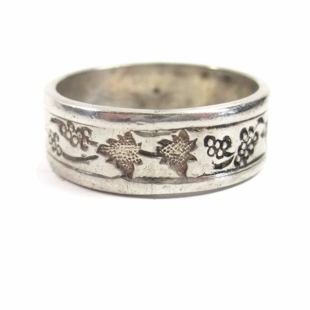 Antique Grape Cluster and Leaf Cigar Band Ring Sterling Size 7 - Bejeweled Emporium - 1