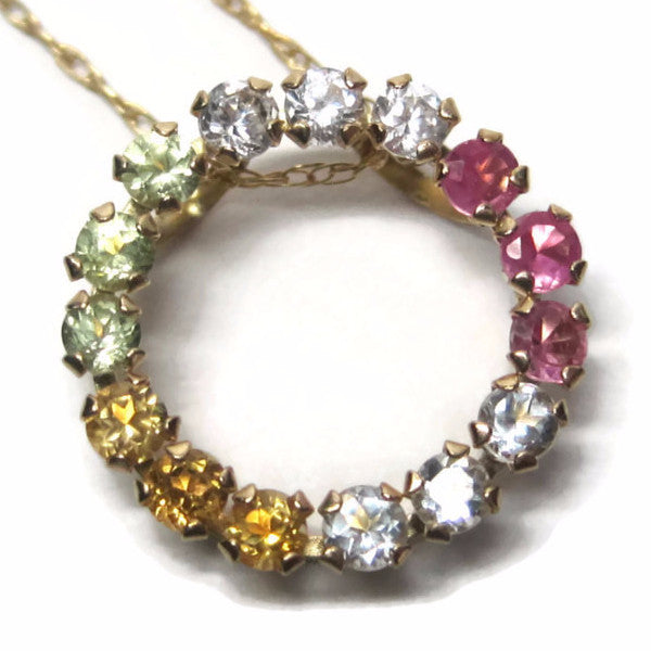 Vintage 10K Dainty Multi Gemstone Circle Of Life Pendant Necklace - Bejeweled Emporium - 1