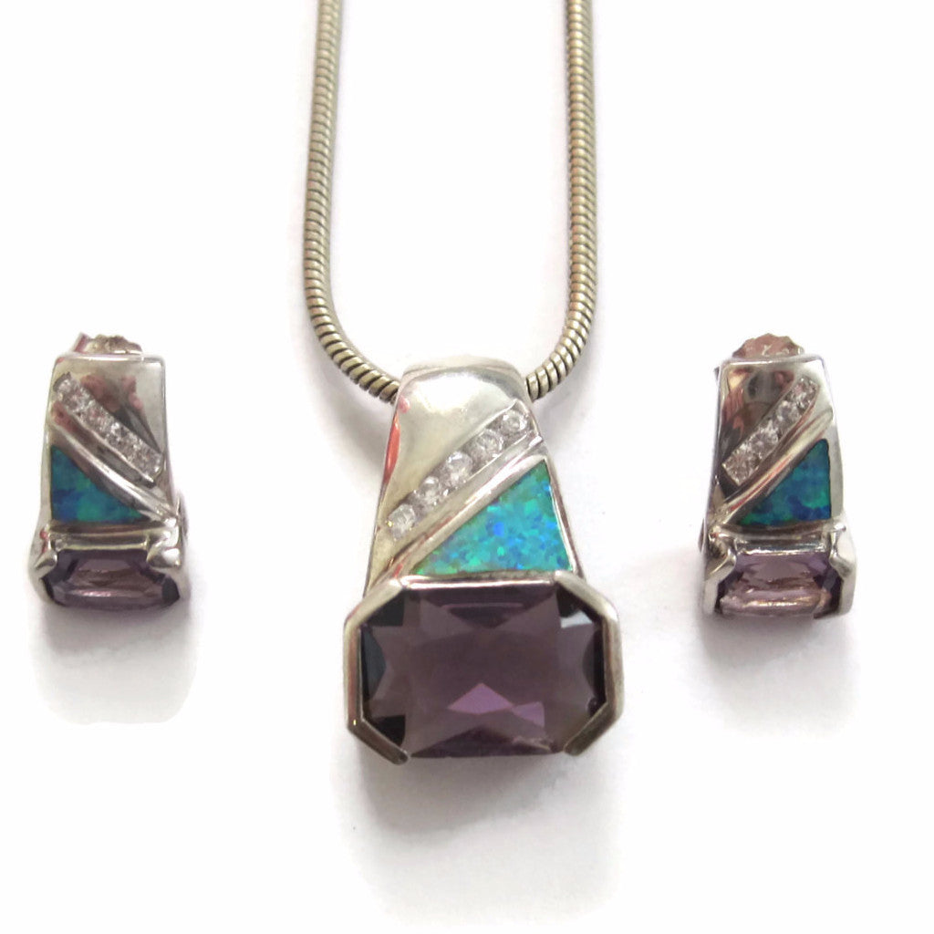 Vintage Amethyst Opal Necklace and Earrings Sterling Jewelry Set - Bejeweled Emporium - 1