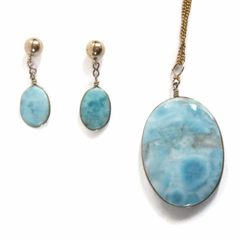 Vintage Larimar Pendant and Earrings Jewelry Set 14K Gold Filled - Bejeweled Emporium - 1