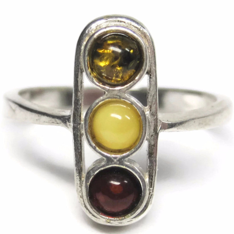 Vintage Sterling Amber Ring Size 8.5 Cherry Honey Egg Yolk - Bejeweled Emporium - 1