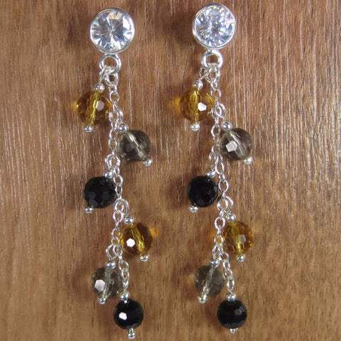 Earthy Crystal Sterling Dangle Earrings