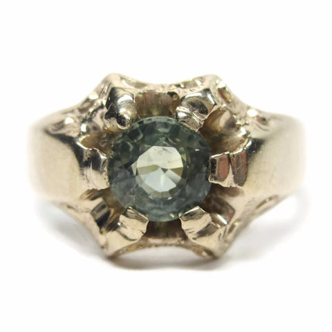 Antique 14K Green Sapphire Ring Victorian Belcher Yellow Gold Size 7 - Bejeweled Emporium - 1