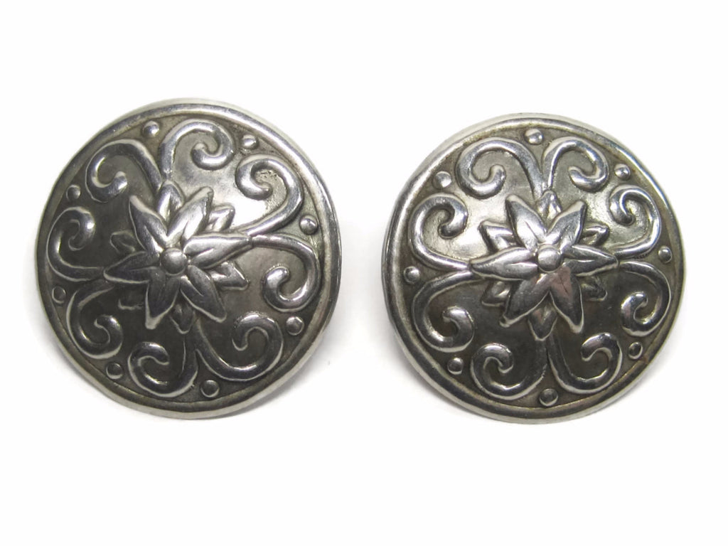 Vintage Southwestern Concho Earrings Sterling Floral Design - Bejeweled Emporium - 1
