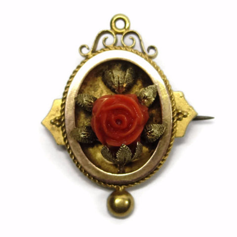 Antique Victorian 14K Coral Rose Brooch Pendant - Bejeweled Emporium - 1