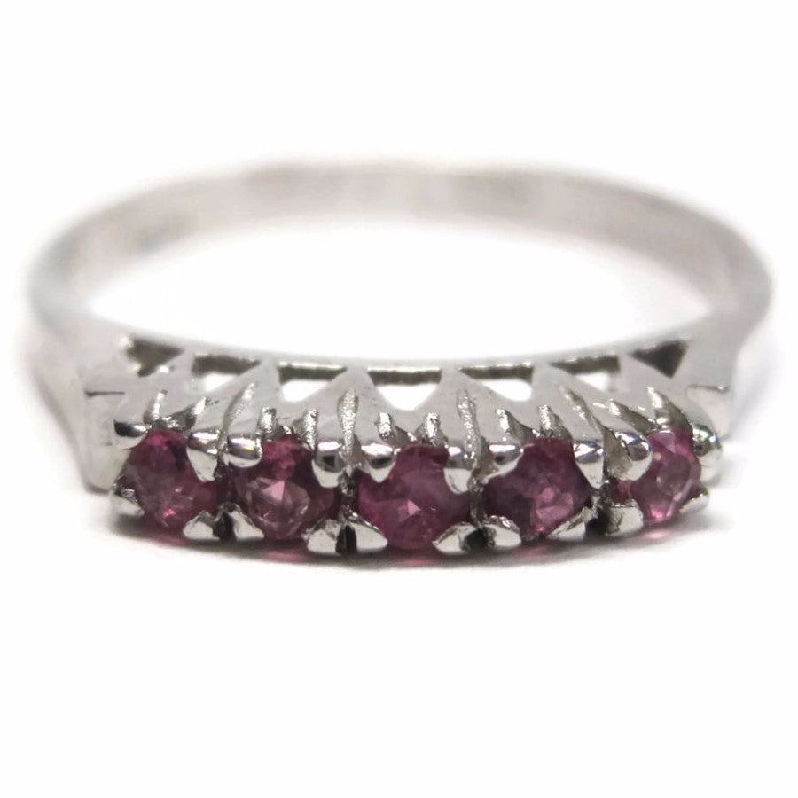 Vintage Sterling 5 Stone Ruby Stacking Ring Size 7.5 - Bejeweled Emporium - 1
