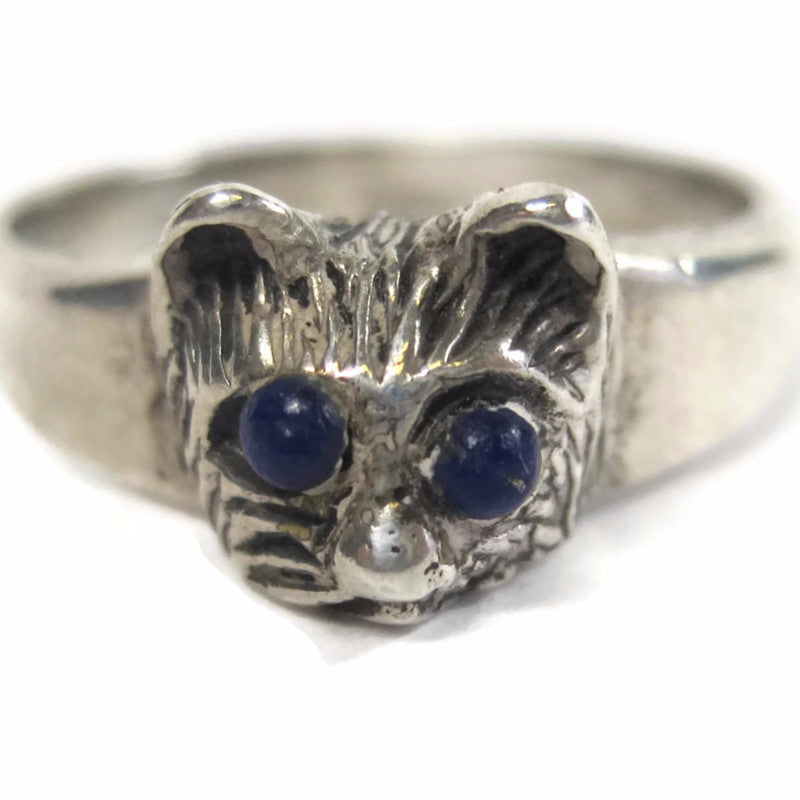 Vintage Sterling Lapis Cat Ring Size 7 - Bejeweled Emporium - 1