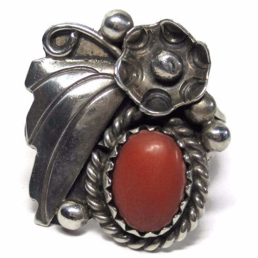 Vintage Navajo Coral Feather Flower Ring Sterling Size 5 - Bejeweled Emporium - 1