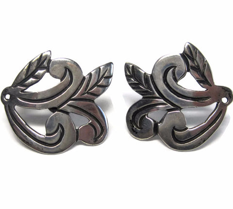 Antique Mexican Sterling Scrolling Leaves Screw Back Earrings - Bejeweled Emporium - 1