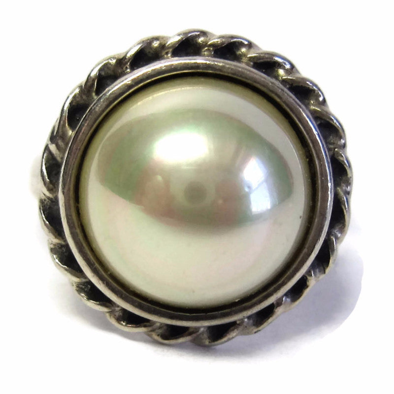 Vintage Sterling 12mm Faux Pearl Ring Size 7.5 - Bejeweled Emporium - 1