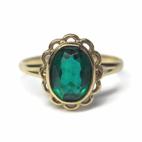 Dainty Vintage 10K Yellow Gold Oval Green Glass Ring Size 5.75 - Bejeweled Emporium - 1