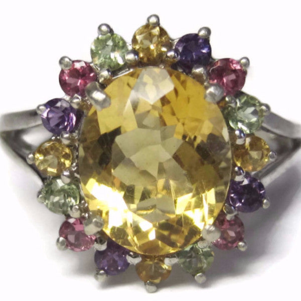Citrine Multi Stone Cocktail Ring Size 9 - Bejeweled Emporium - 1