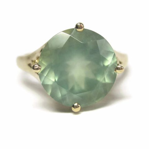 Vintage 10K Green Chalcedony Solitaire Ring Size 7