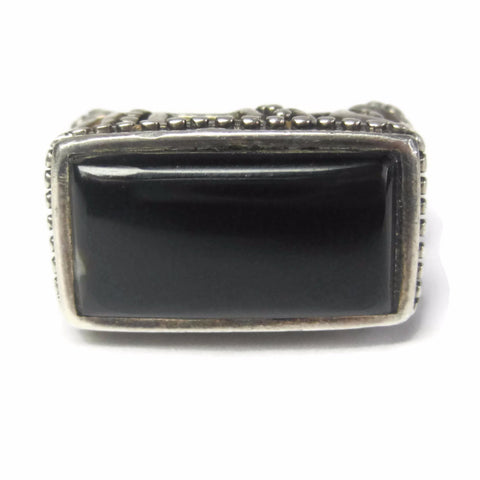 Gothic Vintage Sterling Onyx Filigree Ring Size 6 - Bejeweled Emporium - 2