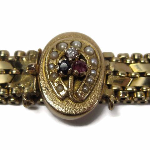 Antique Vintage 14K Yellow Gold Horseshoe Seed Pearl Bracelet - Bejeweled Emporium - 1