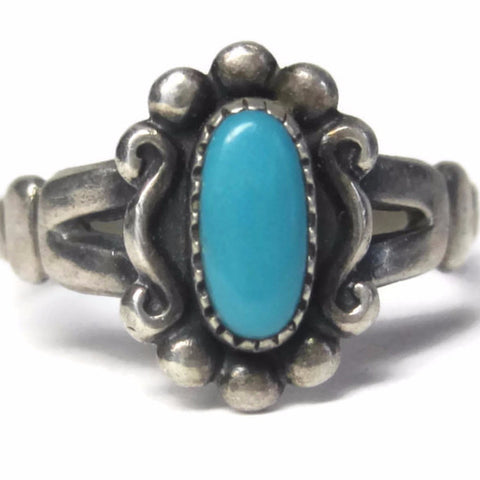 Classic Vintage Bell Trading Post Turquoise Ring Size 5.5 - Bejeweled Emporium - 1