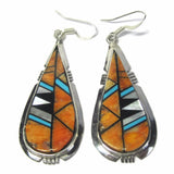 Vintage Southwestern Sterling Spiny Oyster Turquoise Jet Dangle Earrings - Bejeweled Emporium - 1