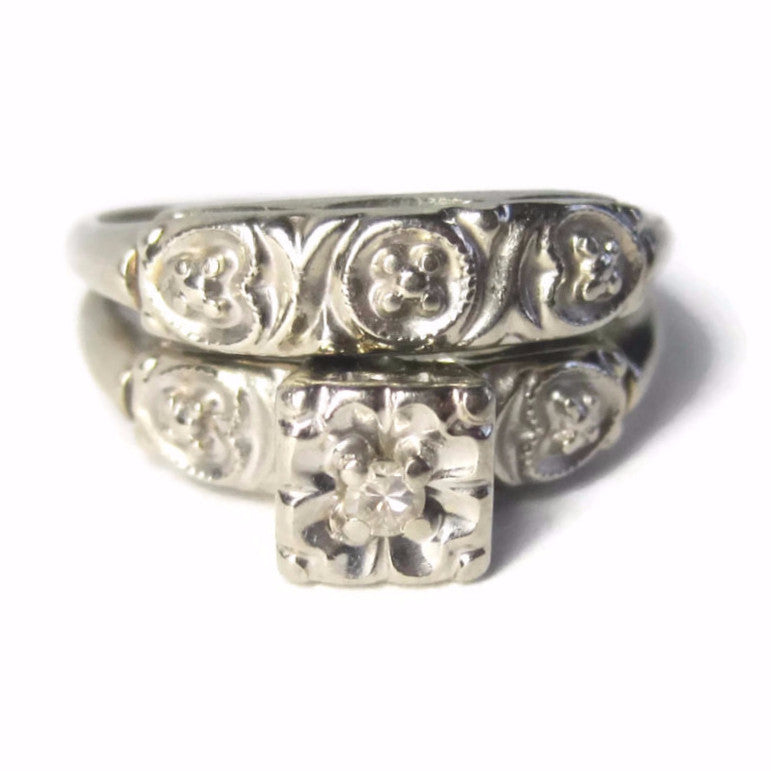 Vintage 14K White Gold Illusion Diamond Wedding Bridal Ring Set Size 5.5 - Bejeweled Emporium - 1