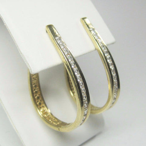 Flashy Vintage 90s Vermeil Cubic Zirconia Hoop Earrings - Bejeweled Emporium - 1