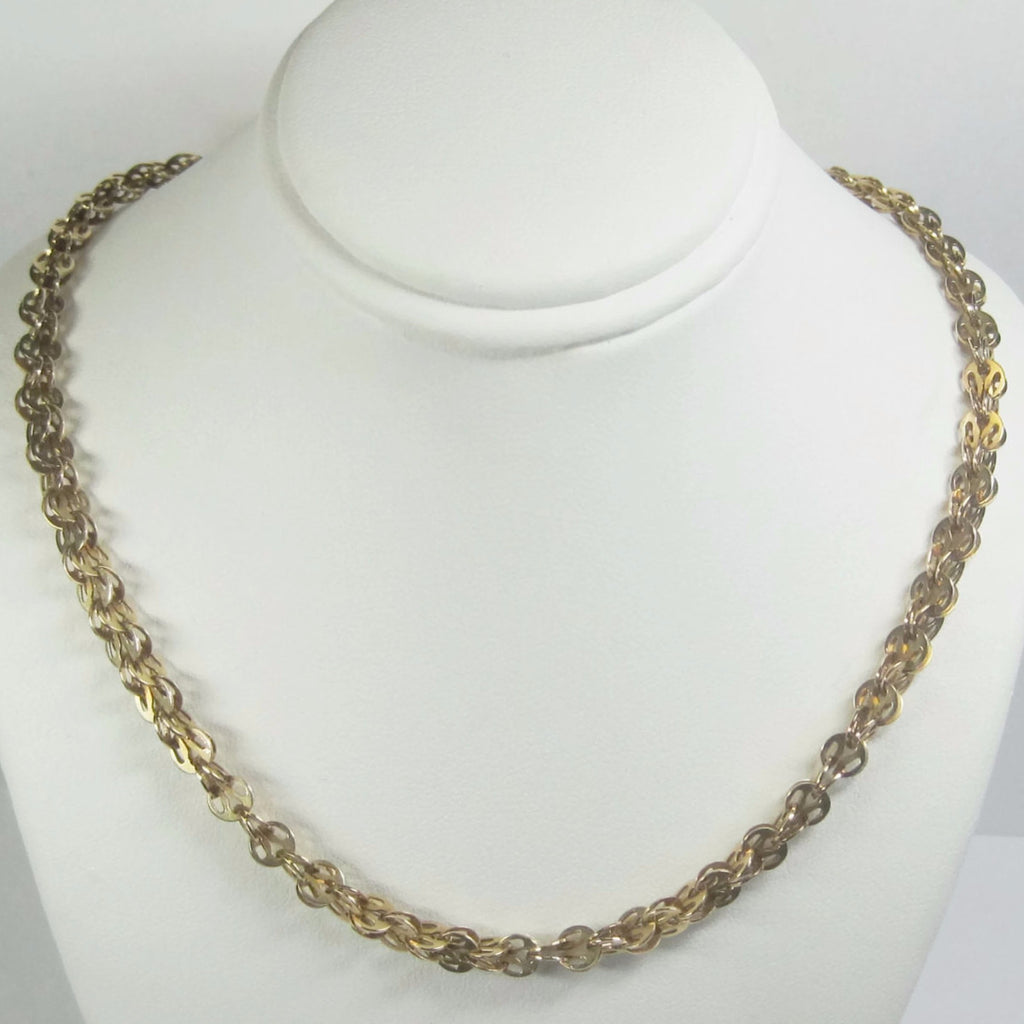 Unusual Vintage 14K Yellow Gold Custom Chain Necklace 18 Inches - Bejeweled Emporium - 1