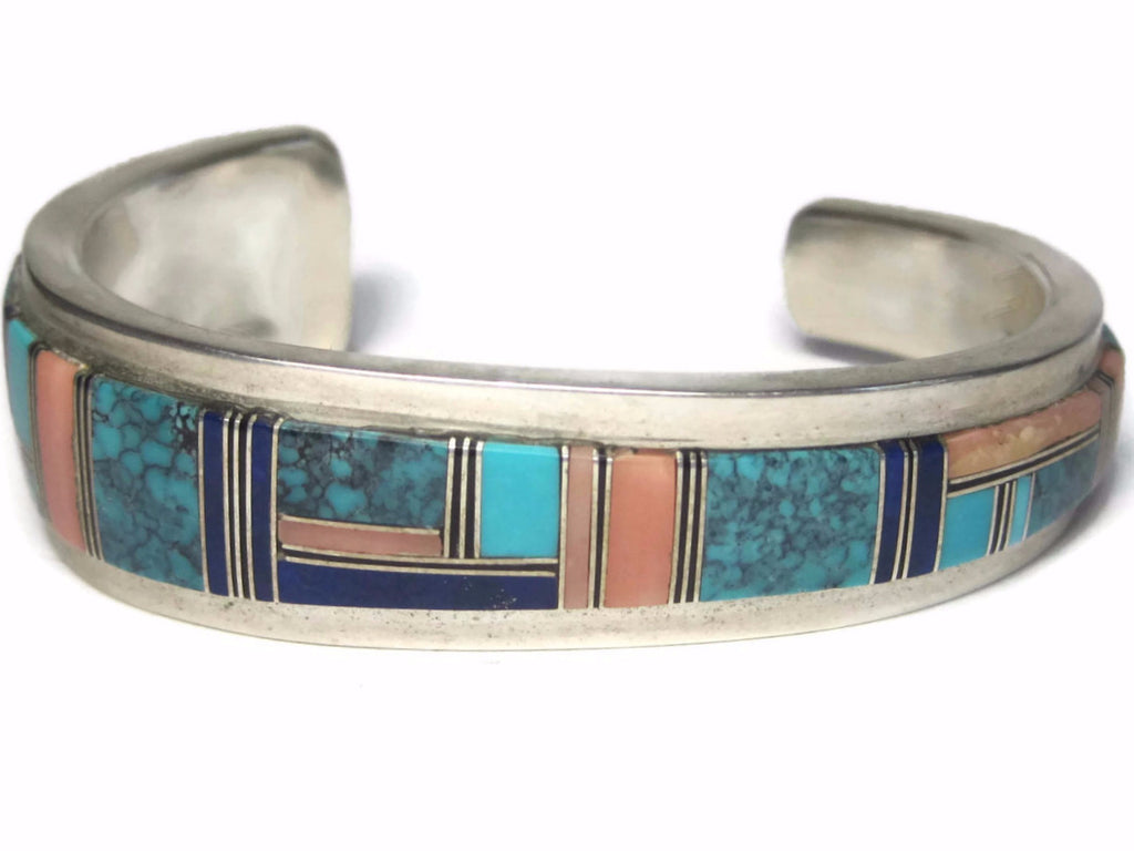Vintage Navajo Turquoise Lapis Spiny Oyster Inlay Cuff Bracelet Wilbert Yazzie - Bejeweled Emporium - 1