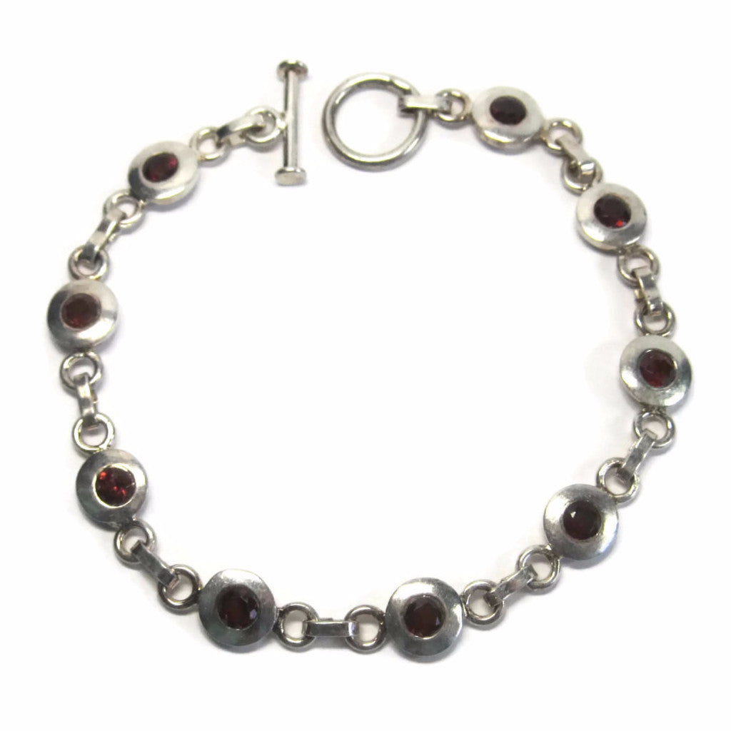 Vintage Sterling Garnet Toggle Bracelet 7.5 Inches - Bejeweled Emporium - 1