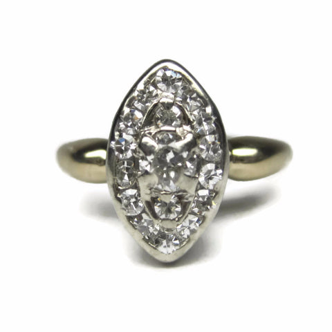 Antique 14K Two Tone .26 Ctw European Cut Diamond Cluster Ring Size 5 - Bejeweled Emporium - 1