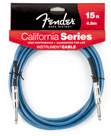 Fender California 15' Instrument Cable - Lake Placid Blue