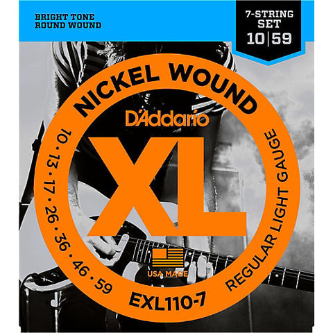D'Addario EXL110-7 Nickel Wound Electric Guitar Strings Regular light 10-59 - Worcester Guitar Centre Guitar Shop