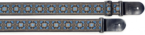 Stagg Woven Nylon Guitar Strap Flower Pattern Blue - Worcester Guitar Centre Guitar Shop