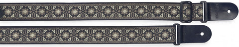 Stagg Woven Nylon Guitar Strap Flower Pattern Grey - Worcester Guitar Centre Guitar Shop