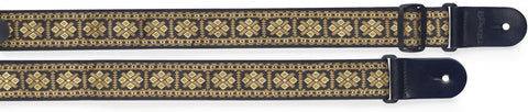 Stagg Woven Nylon Guitar Strap Cross Pattern Yellow - Worcester Guitar Centre Guitar Shop