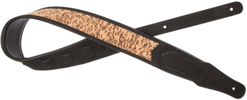 Stagg Black Padded Faux Suede/Leather Guitar Strap - Leopard
