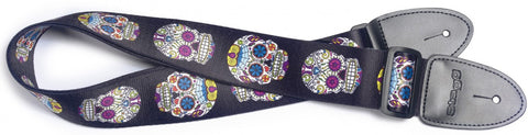 Stagg Terylene Guitar Strap Mexican Skull Pattern - Worcester Guitar Centre Guitar Shop