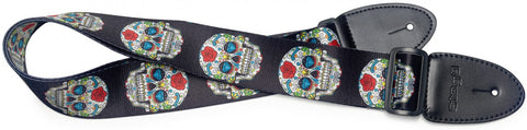 Stagg Terylene Guitar Strap Mexican Skull Pattern 2 - Worcester Guitar Centre Guitar Shop