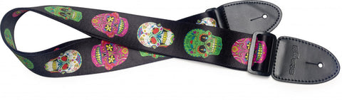 Stagg Terylene Guitar Strap Mexican Skull Pattern 3 - Worcester Guitar Centre Guitar Shop