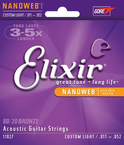 Elixir Nanoweb Custom Light Acoustic Guitar Strings 11-52 - Worcester Guitar Centre Guitar Shop