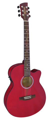 Brunswick BTK30 DR Slimline Auditorium Electro Acoustic Guitar - Red