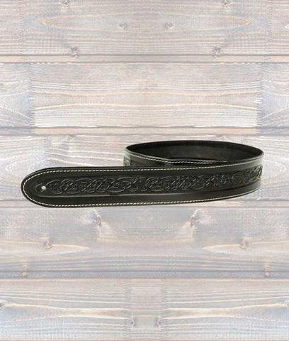 LeatherGraft Celtic Embossed Guitar Strap – Black