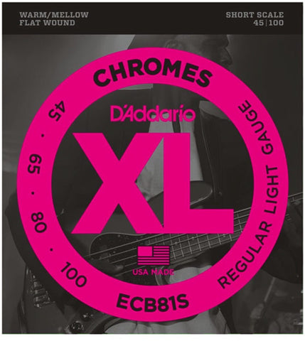 D'Addario ECB81S Chromes Flatwound Bass Stings Short Scale 45-100