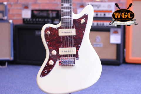 Revelation RJT60 12 String Electric Guitar Vintage White Left Handed - Worcester Guitar Centre Guitar Shop - 1