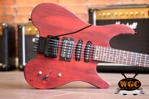 Crimson Kit-Built Headless Maroon Electric Guitar (Pre-Owned)