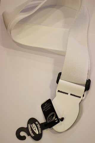 LeatherGraft Guitar Strap - Standard White Webbing *White Leather Ends*