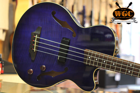 Yamaha BEX 4 Electro Acoustic Hollow Body Bass Guitar Blue/Purple Pre-Used